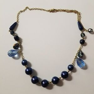 Blue Purple Plastic Beads Beaded Necklace