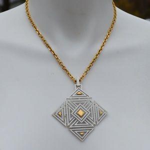 Trifari Crown Vintage White Gold Deco Necklace