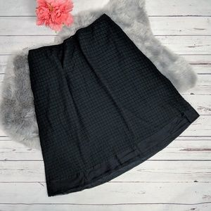 EILEEN FISHER • Waffle weave cotton black skirt