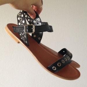 Top Shop Leather Strap Sandals