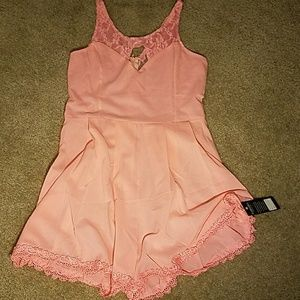 Pink peach lace sexy dressy romper NWT