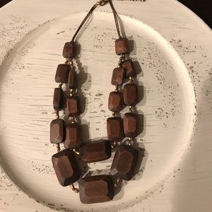 Beautiful Brown wood necklace, double layer!