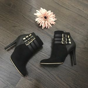 Sam & Libby Black & Gold Buckle Booties