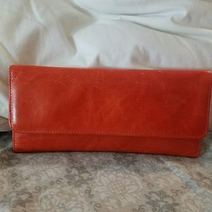 NWOT HOBO INT'L Orange Sadie Tri-fold Wallet
