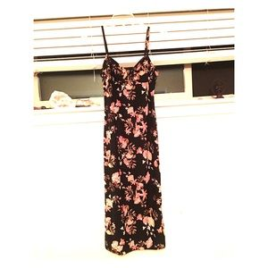 Black floral strapless dress