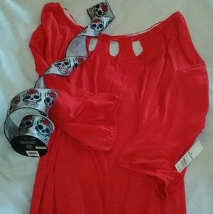 NWT Faded Glory Red Blouse 4X