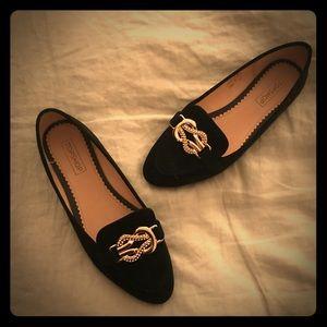 TopShop brand new never worn black velvet loafers