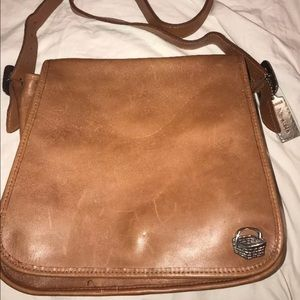 Navasota Thick Cognac Leather Saddle Hobo Flap Bag