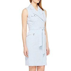 Calvin Klein Moto Belted Zipper Sheath Dress