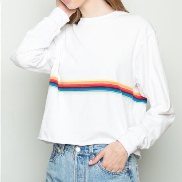 67e8303e2e Brandy Melville Tops - Brandy Melville Rainbow Stripe Longsleeve