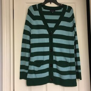 Lands End Striped Long Cardigan