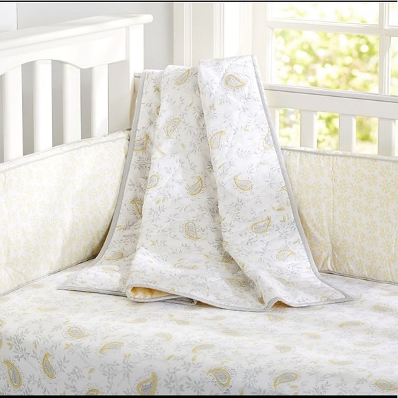 Pottery Barn Kids Lara Crib Toddler Nursery Quilt Yellow Grey