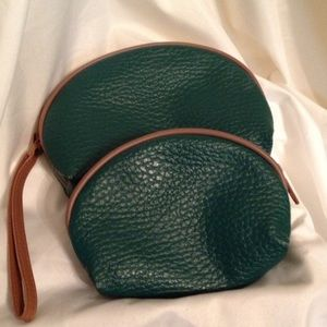 Vintage dark Green cosmetic bags set