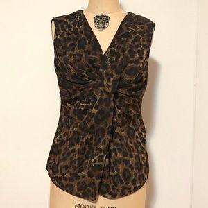 Micheal Kors Leopard Print Wrap Twist Front Top