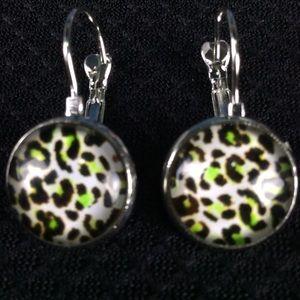 New Green Animal Print Earrings