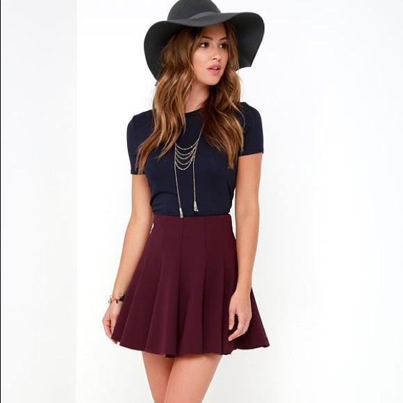 d33d32f264f4 Lush Maroon mini Skater Skirt