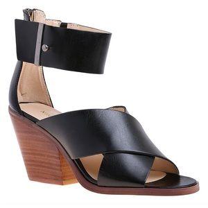 Yannick Leather Ankle Strap Sandal Block Wood Heel