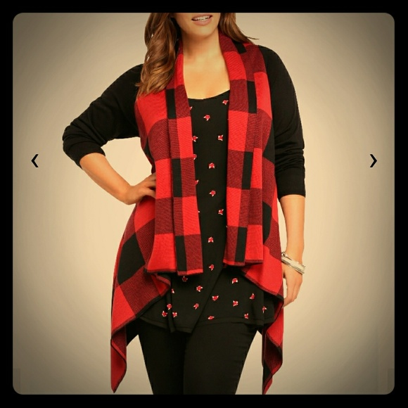 49% off torrid Sweaters - Torrid, Nwt Plaid front drape, Red ...