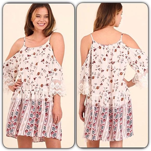 f250ff27134 Boho Chic Lace Floral Boho Tunic Dress SML