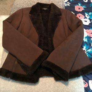 Karen Kane Suede & Fur Coat