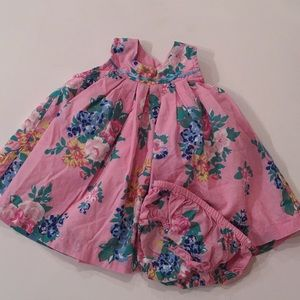 Baby Boden floral Dress and Bloomer Set