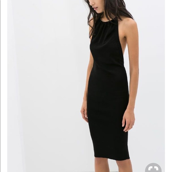 Zara Dresses Knit Black Halter Backless Dress Lbd Medium Poshmark
