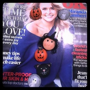 Jewelry - Vintage Halloween Earrings & Button Cover Bundle