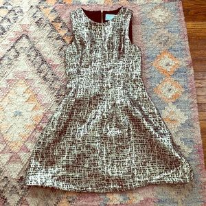 Gold Houndstooth A Line Cocktail Dress