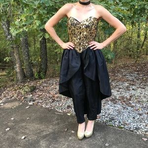 Vintage 80's Pant Dress in Black/Gold Prom/ Party