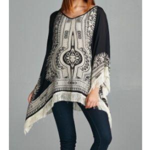 Sweaters - 🆕Velzera boho poncho top fringe ONE SIZE FITS ALL
