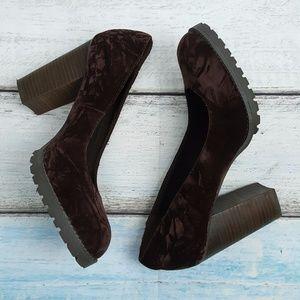 Matisse Jass Brown Crushed Velvet Block Heels 9