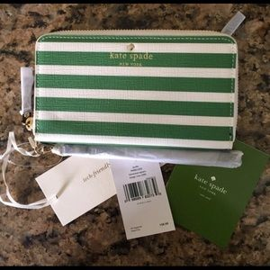 Kate Spade green & white striped wallet new w tags
