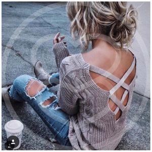 EVA GREENE Knit Sweater - MAUVE
