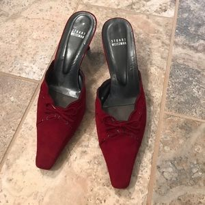 Beautiful red suede Stuart Weitzman kitten heels
