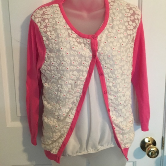 66% off Crown and Ivy Sweaters - Crown and Ivy lace- front pink ...