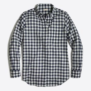 J. crew factory navy check plaid button down top