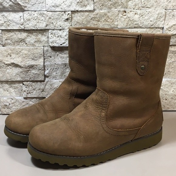 ugg shoes redwood brown leather boots poshmark rh poshmark com