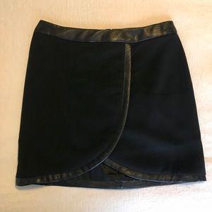 Bardot Black Skirt w/ Faux Leather Trim
