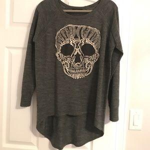 Grey sweater with crochet skull