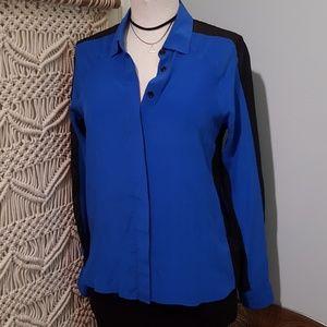 Aryn K Silk Cobalt Blue & Black Inset Panel Blouse