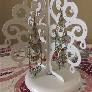 Jewelry - Turquoise and amber beaded chandelier earrings