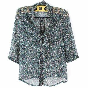 Tinley Road Floral Sheer Blouse Size S 3/4 Sleeve