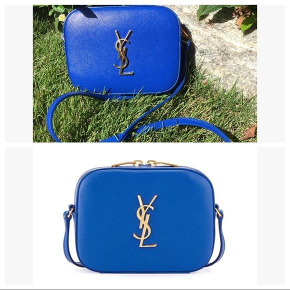4a48ce8a5926 YSL Saint Laurent Blue   Gold Crossbody Camera Bag.  M 59ef836c2de512009d00eb47