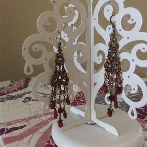 Jewelry - Brown and amber chandelier earrings