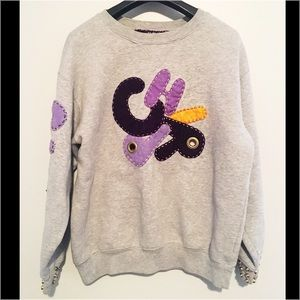Vinatge Chirp Patchwork Embroidered Sweatshirt