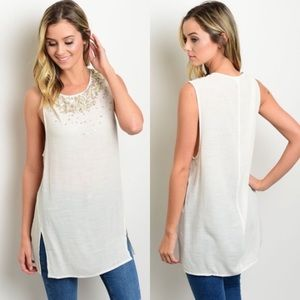 Tops - Beaded Ivory Tunic Boutique S/M