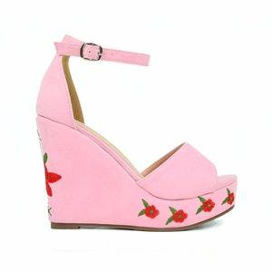 Chase & Chloe Alexandra Pink Flower Wedge Sandal