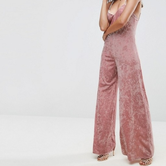 53d9115e93d Pink crushed velvet wide leg jumpsuit