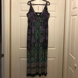 Full length, lined tank dress with adj. straps