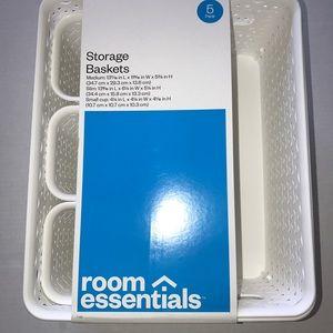 Other - Room Essentials 5 White Storage Baskets New
